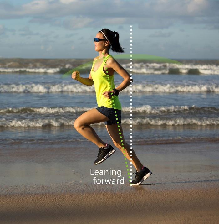 Lean forward while running