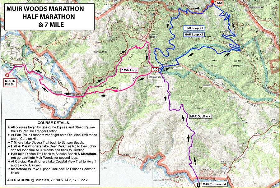 Muir Woods Marathon, Half Marathon & 7 Mile - Stinson Beach ... on golden gate bridge map, green valley map, walnut creek map, marin city map, redwood national park map, willow creek map, san bruno mountain state park map, alibates flint quarries map, san pablo map, montrose map, big sur map, mt. tamalpais cataract trail map, marin county map, cisco grove map, san francisco map, miller woods map, alpine meadows map, sausalito map, carmel by the sea map, lincoln woods map,